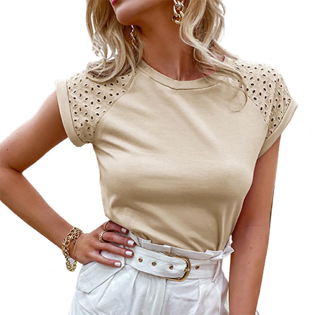 Женская летняя футболка однотонные Цвет с короткими рукавами, с короткими рукавами, с круглым вырезом Блуза Топ для офиса
