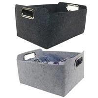 foldable storage basket grey felt fabric desk organizer tidy storage box toys cosmetic case basket sundries clothing organizer