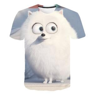 2021 Cute 3D Cartoon Dog T Shirt kids clothes Summer Short Printed Animal t-shirt Boys Funny Teenager Children Tops O-Neck