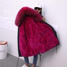 Oversive thikcer warm natural fur parkas female winter Long rabbit fur liner detachable fur coat real fox fur hooded coats F10