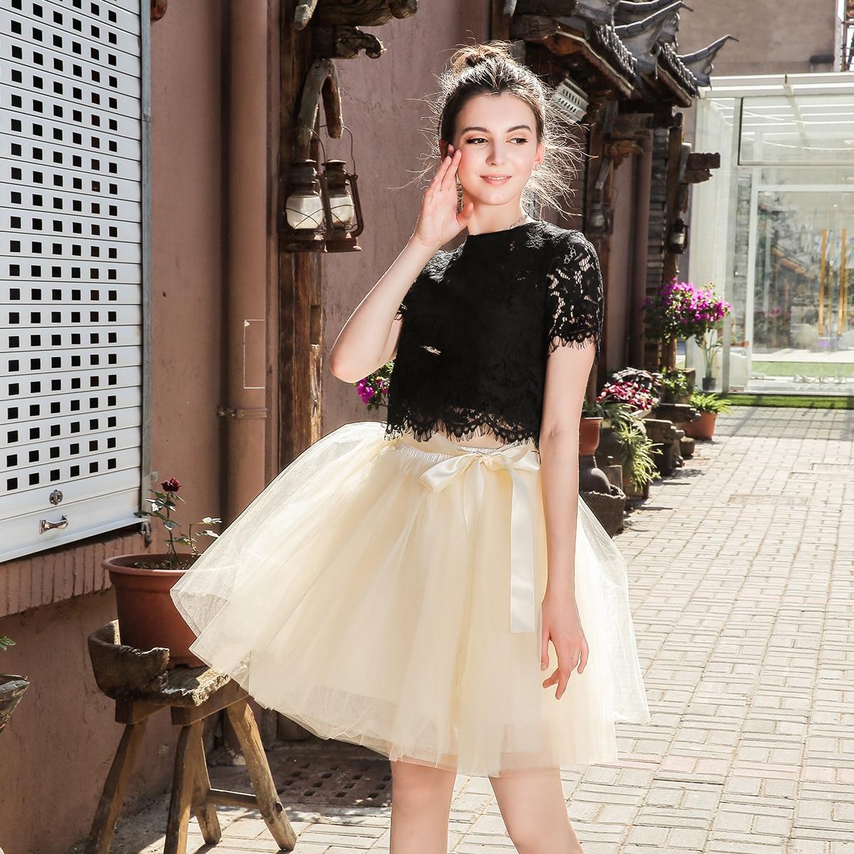 Skirts Womens 7 Layers Midi Tulle Skirt Fashion Tutu Skirts Women Ball Gown Party Petticoat 2020 Lolita Faldas Saia
