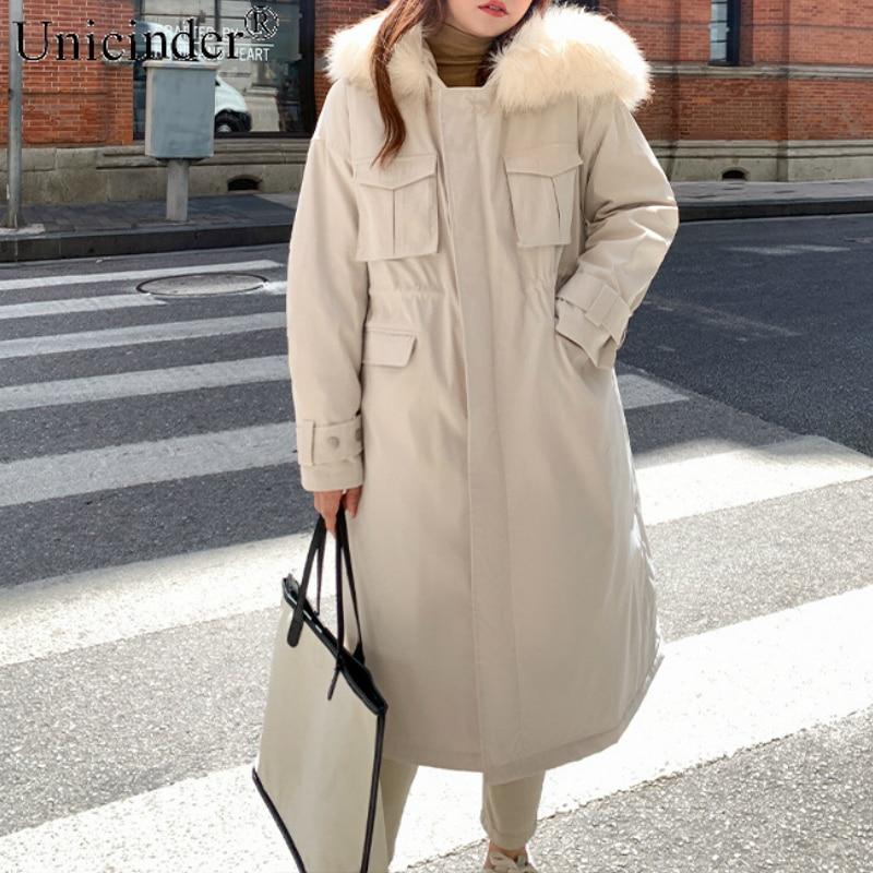 Unicinder 2020  Winter Long Coat Women Plus Size XL-4XL Thick Clothes for #9963
