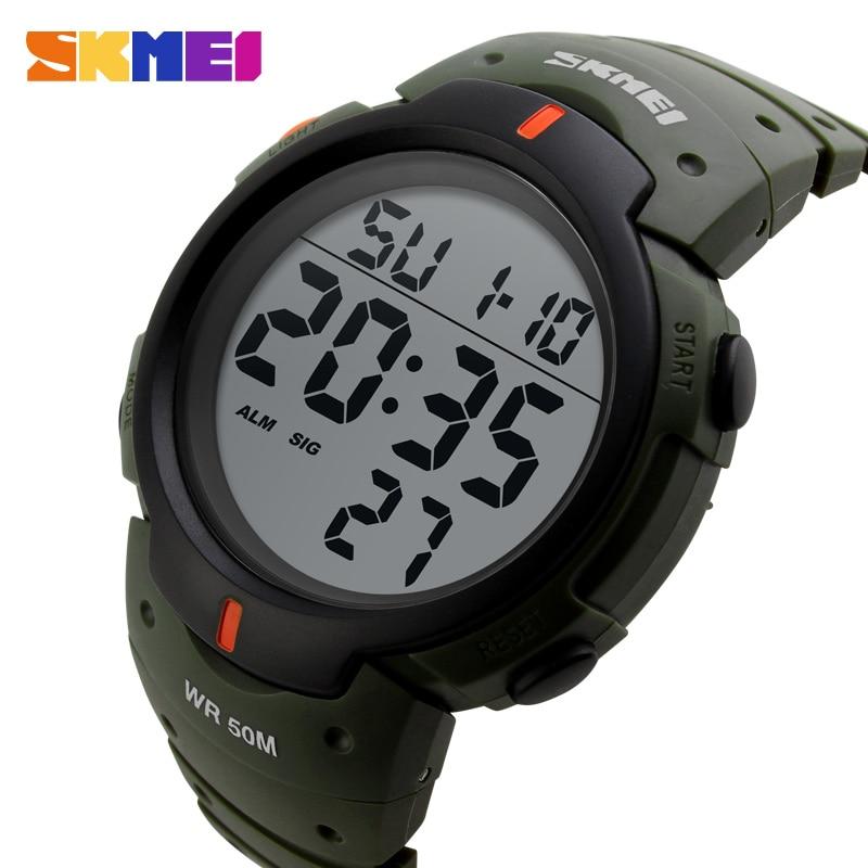 Часы наручные SKMEI Мужские Цифровые в спортивном стиле, модные большие цифровые, с будильником, водонепроницаемость 50 м, 1068