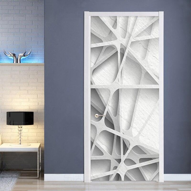 Creativo moderno Mural papel 3D estéreo patrón geométrico Puerta de sala de estudio Pared de habitación Etiqueta de PVC 3D casa calcomanías