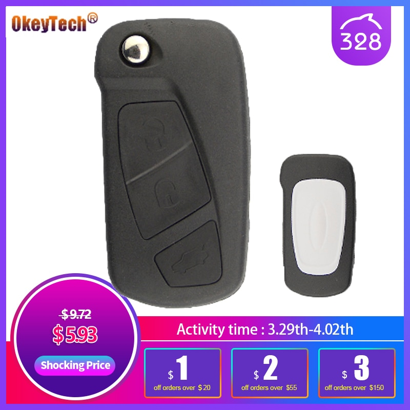 OkeyTech Replacement Flip Car Key Shell For Ford KA 3 Buttons Remote Folding Key Housing Case Holder