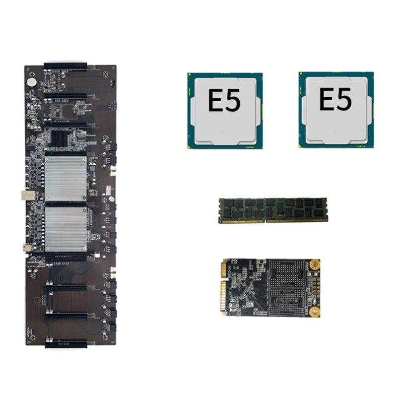 Материнская плата H052 для майнинга, разъем ЦП BTC X79 LGA 2011, 8 слотов PCI-E 3,0 X16, поддержка 9x3060 GPU DDR3, слот памяти для майнинга