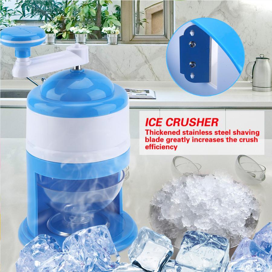 Portable Hand Crank Manual Ice Crusher Shaver Snow Cone Maker Machine Household Kitchen Tool Ice Maker Machine