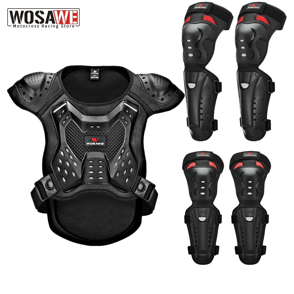 WOSAWE Adults Motorcycle Armor Vest Chest Back Protection Motocross Ski Skateboard Safety Jacket Moto Wear Protective Gear