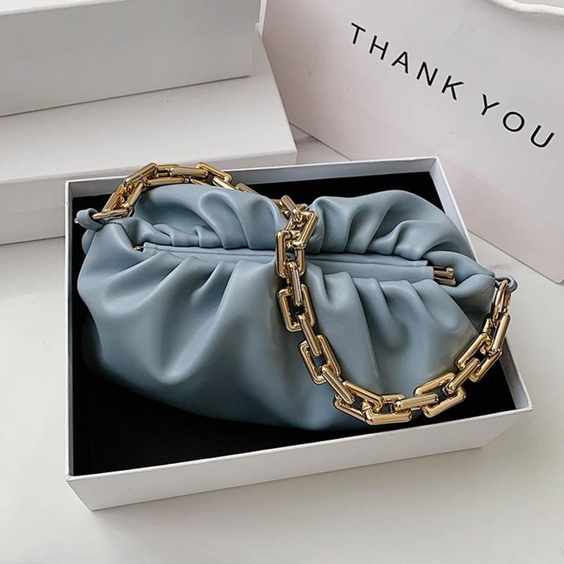 Thick Chain Shoulder Bag Luxury Handbag Women Bags Designer Leather Clutches Retro Cloud Pouch Bag Women Totes Bag Hand Purses