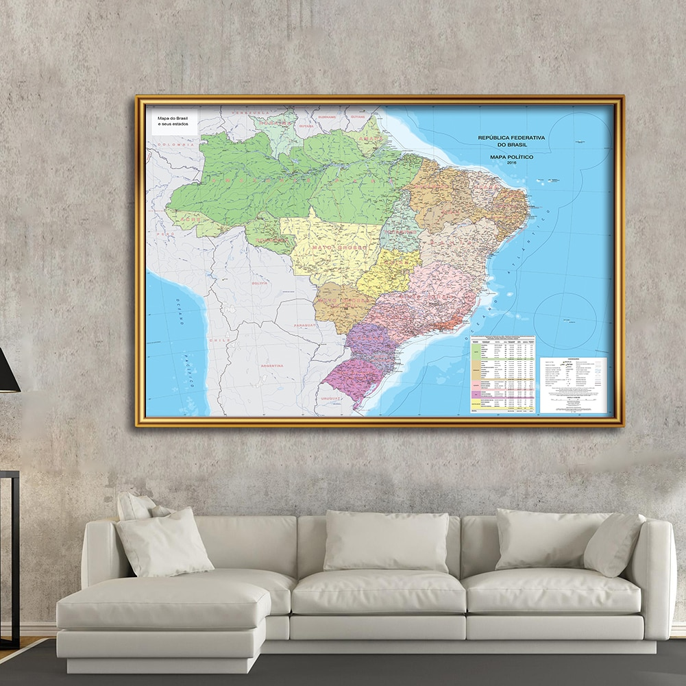 225*150 cm The Brazil Map In Portuguese Non-woven Canvas Painting Wall Poster Living Room Home Decoration School Supplies