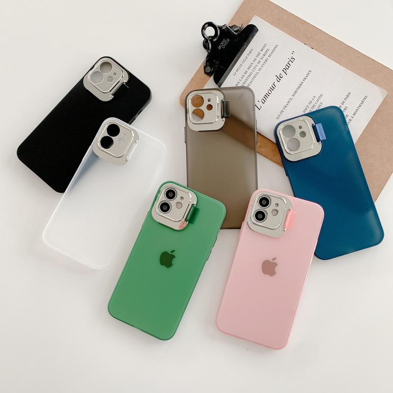 2 in 1 Lens Protection Holder Phone Case Soft Silicone TPU Cover For apple iphone 12 MiNi 7 8 X XS X