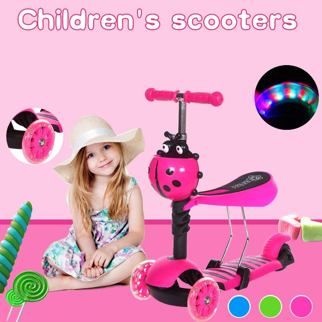 Niño niños 3-en-1 resbaladizo los niños es regulable en altura y Scooter de tres ruedas con LED monopatín liviano junta plana placa #