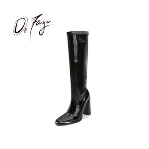 2020 Fashion Women Boots side zip 7.5CM 10.5CM Block High Heel Pointed Toe Shoes Square Toe Trendy Spring Winter Black Chaussure