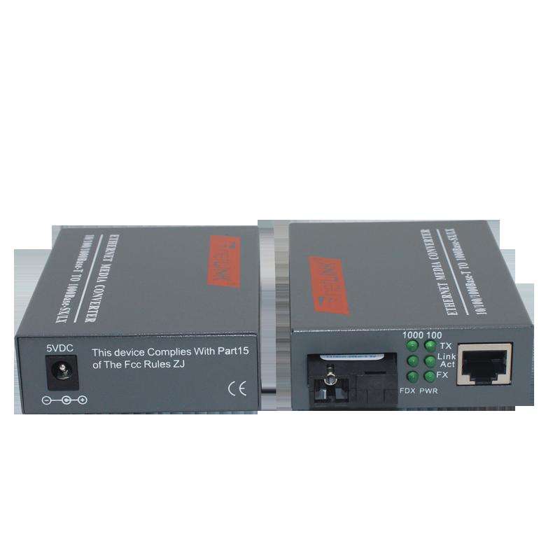 1 زوج HTB-GS-03 A/B جيجابت الألياف البصرية تحويل وسائل الإعلام 1000 150mbps وضع واحدة الألياف SC ميناء 20 كجم