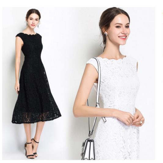 Novo verão trabalho festa de renda vestido fino sem mangas feminino floral crochê vintage branco preto vestidos robe femme ete lj852