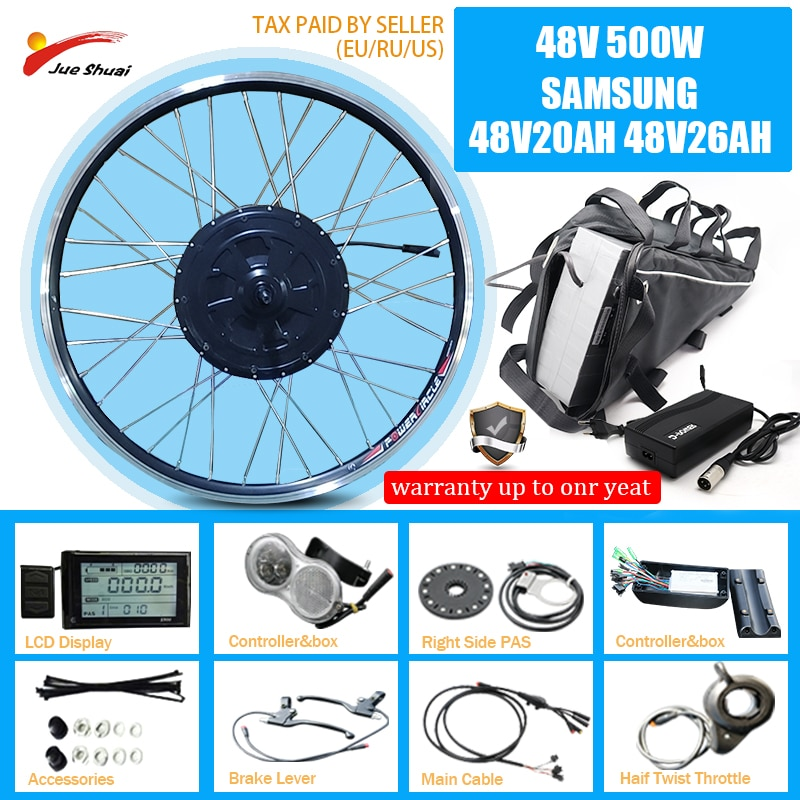 Kit de conversión de bicicleta eléctrica con Li-Batería de León de cubo...