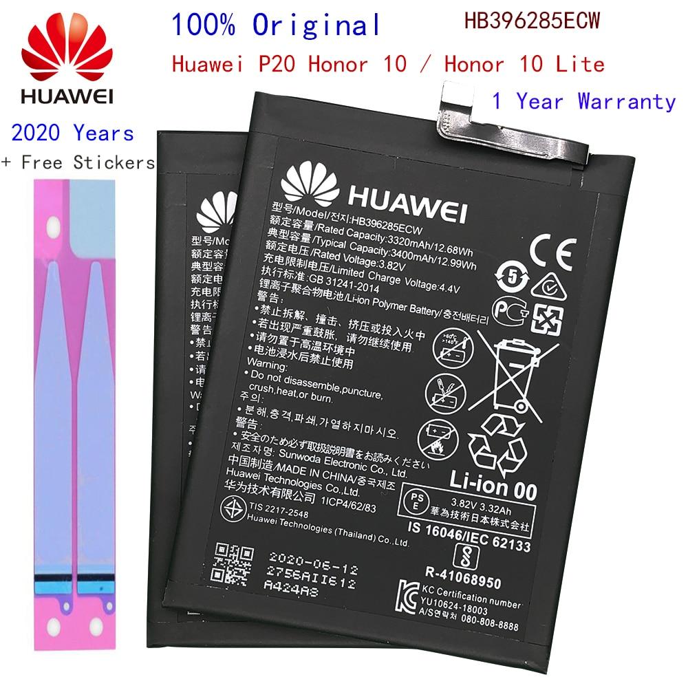 Batería de teléfono de repuesto Hua Wei HB396285ECW 3400mAh para Huawei P20 / Honor 10 / Honor 10 Lite, baterías originales