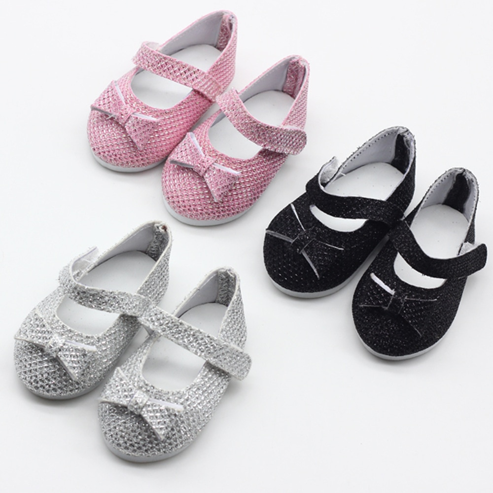 7cm Pink/Silver/Black  Doll Shoes For 18 inch Girls Doll Mini Handmade Doll Shoes For 43 cm Baby New Born Dolls Toy Accessories недорого