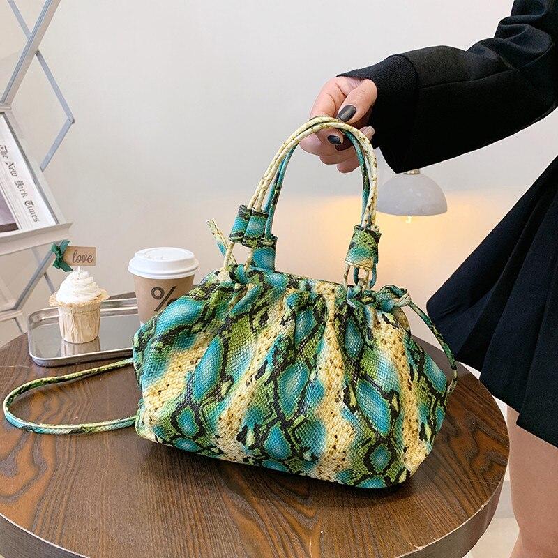 Snakeskin Pattern Shoulder Bag Luxury Women Good Quality Leather Tote Handbag Lady Snake Print Pleated Crossbody Bags Sac A Main