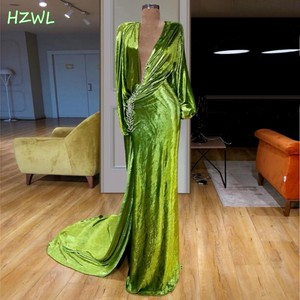 Bright Green Muslim Formal Evening Dresses Long Mermaid Sexy Prom Dress 2020 spring Party Gowns High Split Robe De Soiree