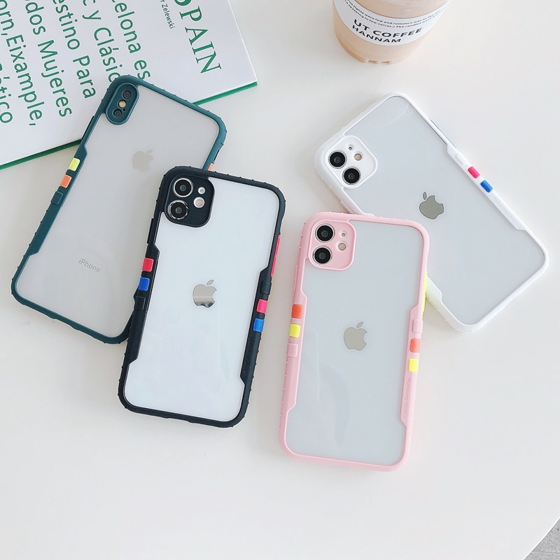 Funda de teléfono transparente de lujo para iPhone carcasa a prueba de...