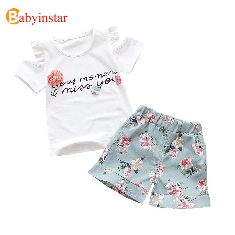 Babyinstar New Summer Toddler Clothing Sets Off Shoulder White T-shirt + Baby Shorts 2pcs Suit for Girls Toddler Flower Suit Set