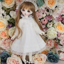 Ubranka dla lalki 1/6 1/4 księżniczka biały strój na 1/6 YOSD 1/4 BJD MSD akcesoria dla lalek spódnica + ozdoba do włosów + skarpetki