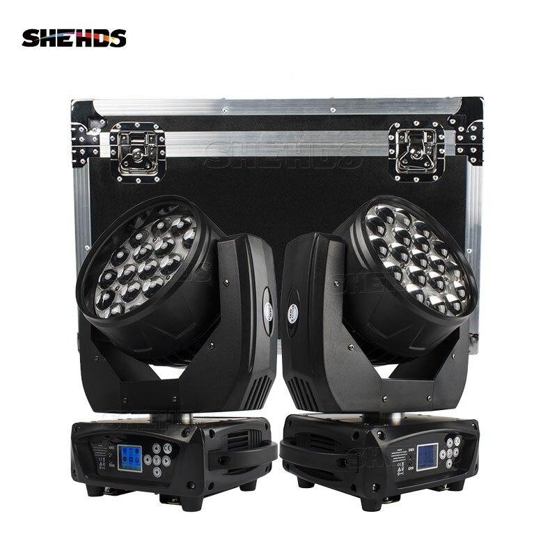SHEHDS عرض الوقت المحدود 2 قطعة LED شعاع غسل 19x15 واط RGBW التكبير الإضاءة مع علبة الطيران للحزب ديسكو KTV شحن سريع مجاني