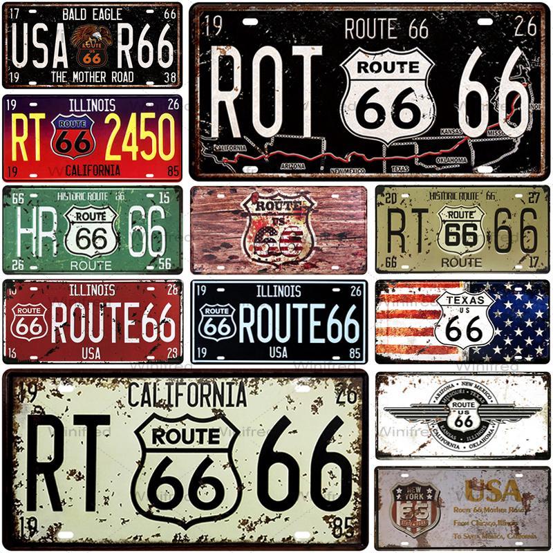 Route 66 numéro voiture Plaque dimmatriculation en métal Plaque métal Vintage étain signe signes en métal Vintage barre décoration métal affiche Pub Pin Up
