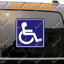 Autocollant autocollant pour voiture   Autocollant réfléchissant, en vinyle, symbole de Handicap, pour fauteuil roulant, brillant