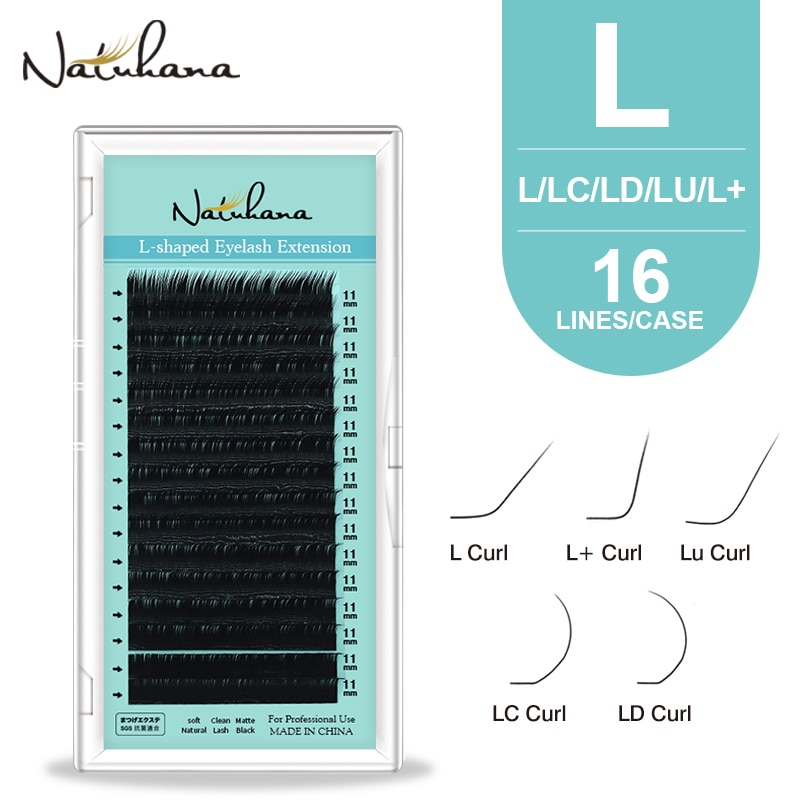 NATUHANA L/L+/LC/LD/LU(M)/N Curl False Mink Lashes Natural Soft Faux Silk Eyelashes Matte Black Individual LU Eyelashe Extension недорого