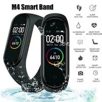 M4 Цвет Экран Смарт-часы браслет-измеритель пульса Фитнес фитнес-трекер умные часы с определением группы крови, измеряет Давление музыкальн...