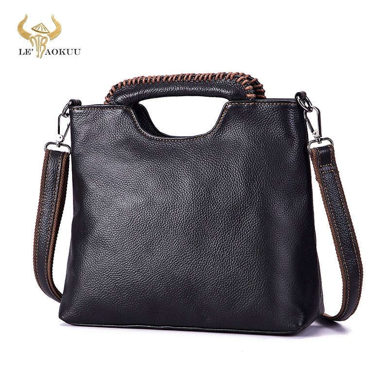 Thick Original Leather Famous Brand Luxury Ladies Vintage Shopping handbag Shoulder bag Women Design