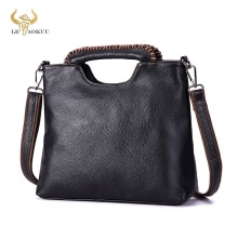 Thick Original Leather Famous Brand Luxury Ladies Vintage Shopping handbag Shoulder bag Women Design