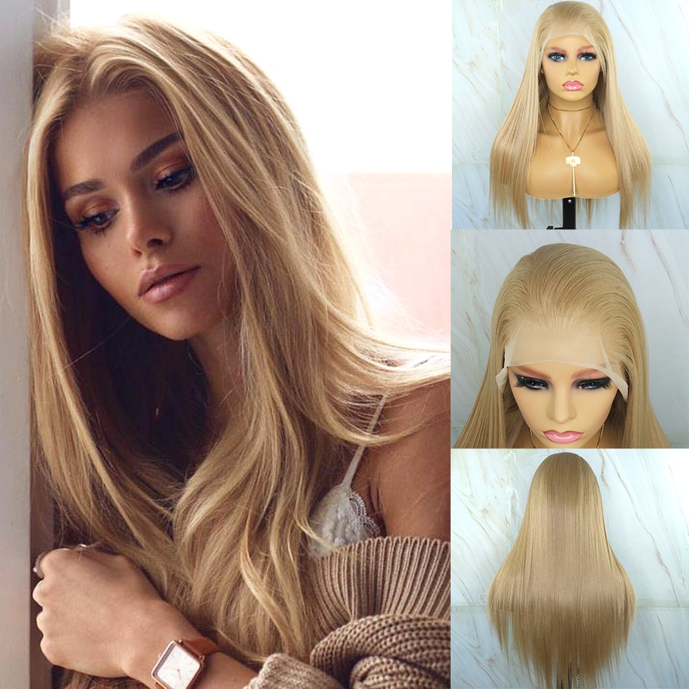 Beautiful Diary Long Straight 13x6 Synthetic Lace Front Wigs Honey Blonde Futura Synthetic Hair Lace Frontal Wig for Black Women