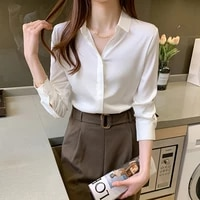korean summer women shirt chiffon blouse for women long sleeve shirts female top white satin pullover blouse tops woman shirt