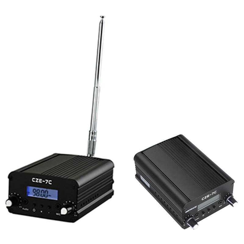 CZE-7C PLL FM جهاز إرسال لاسلكي محطة بث 1 واط/7 واط ستيريو تردد 76-108 ميجا هرتز برو الحرم الجامعي مكبرات الصوت LCD