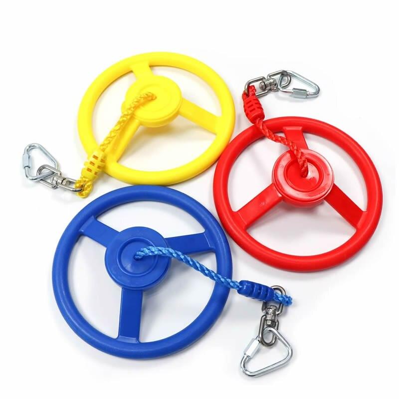 تأرجح عجلة النينجا للأطفال ، عجلة فناء الغابة ، صالة الألعاب الرياضية ، خط النينجا