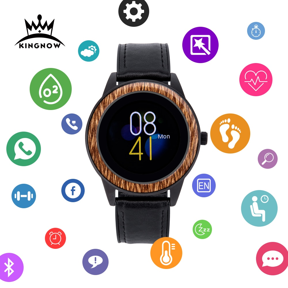 KINGNOW Smart Watches For Men's wristwatch 2021 Wooden Sports Watch Multifuntional Waterproof Bluetooth Clock For Android ios