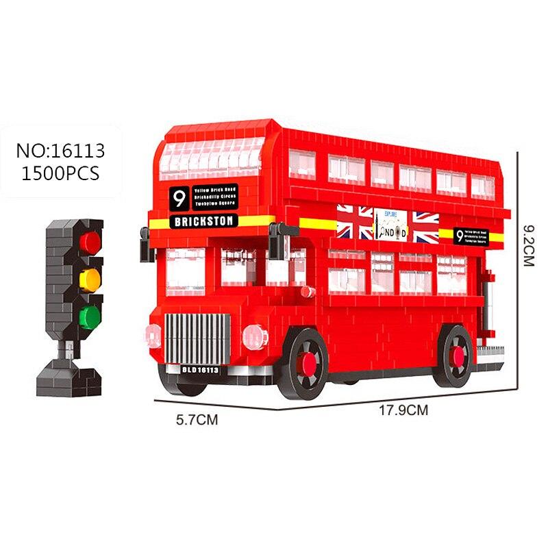 Balody Diamond, NO compatible con city UK london, juegos de autobuses de dos pisos, modelo de construcción, mini bloques, vehículo escolar de ladrillo