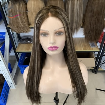 Yelin Free Shipping Brown Color Highlight Striaght Hair Swiss Lace Top Wigs Jewish Kosher Wig