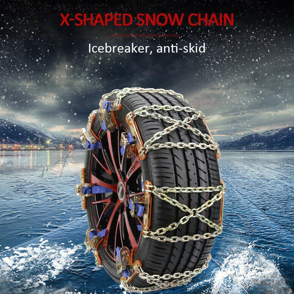 Cadena antideslizante para coche neumático automóvil cubierta cadenas de nieve Cadena de acero pesado de emergencia carretera SUV conducción para hielo/nieve/barro seguro manganeso Y3Z3