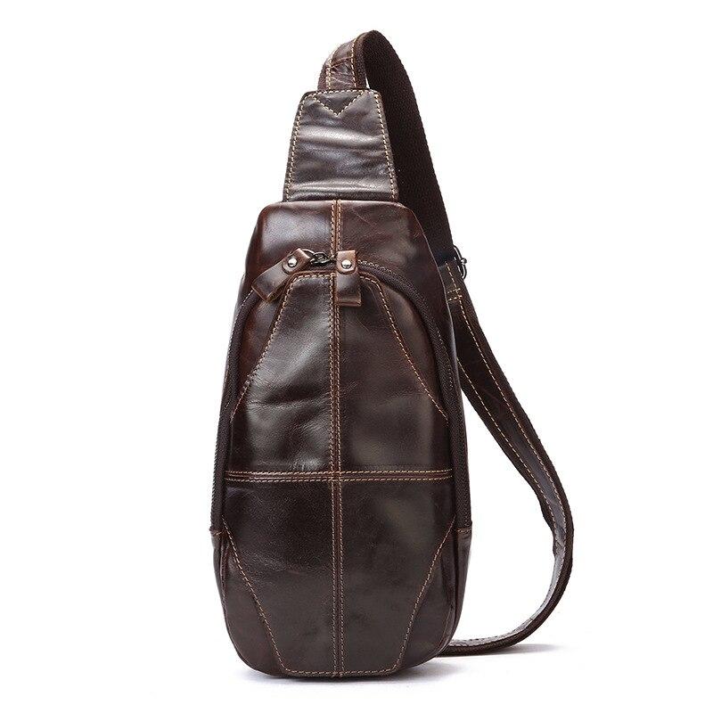 Cow Leather Men's Bag England Postman Bag Fashion Casual Business chest bag