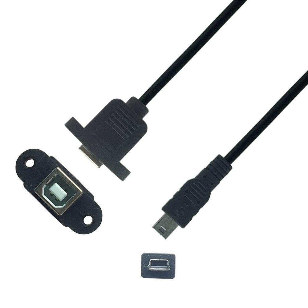 USB a Mini-USB 5pin Mini USB 2,0 macho a USB 2,0 tipo B conector hembra de 30cm de Cable de 50cm con montaje en Panel agujero MINI USB Cable USB