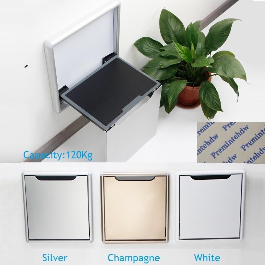 Fina montura de aluminio para la pared de aleación de asiento plegable taburete Suave lento movimiento baño armario guardarropa vestíbulo RV plata blanco champán
