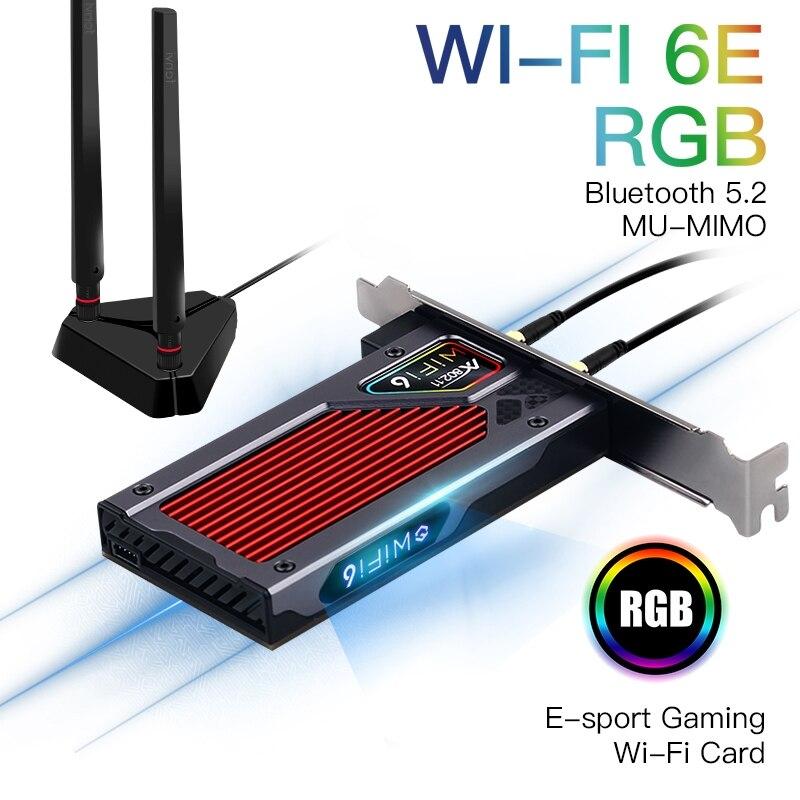 WiFi 6E إنتل AX210 بكيي اللاسلكية محول بلوتوث 5.2 3000 2.4G/5G/6GHz MU-MIMO WiFi6 بطاقة شبكة RGB 802.11ax ويندوز 10