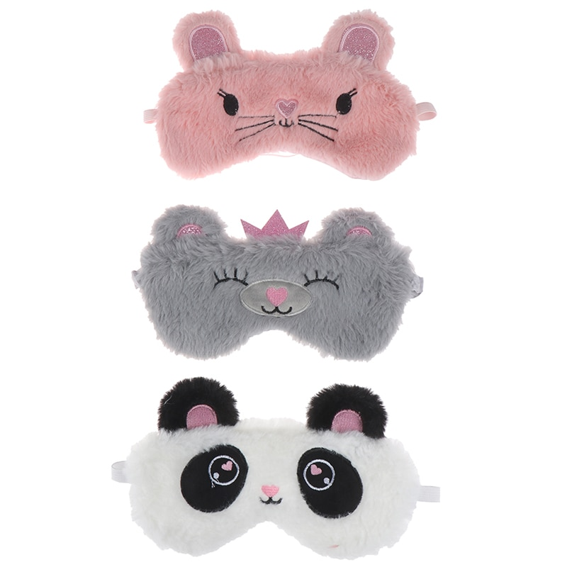 Máscara ojo Panda mujeres peluche Animal ratón oso ojo cubierta fiesta en casa sombra de ojos lindo felpa ojo chica con máscara juguete adecuado para viaje