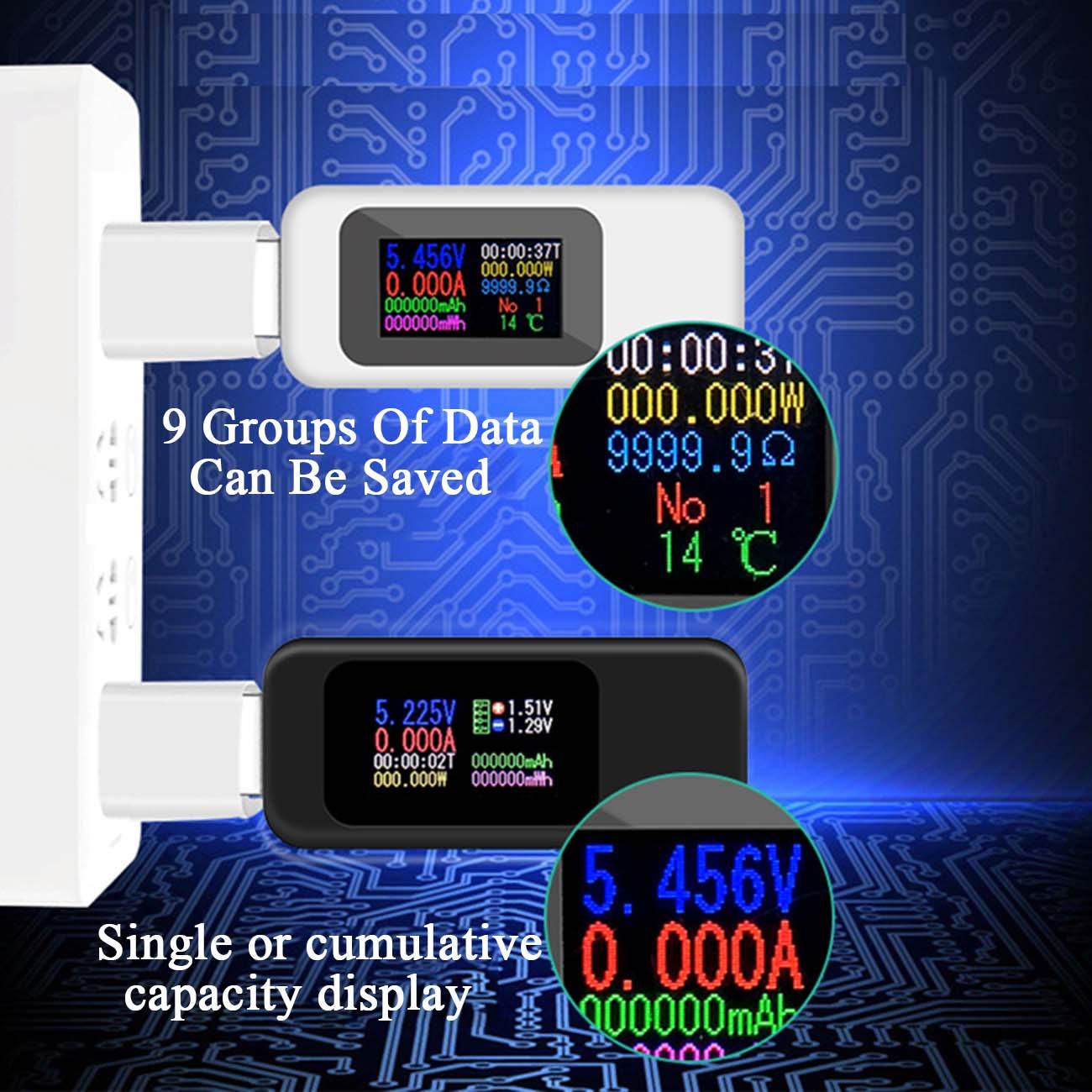 Probador USB de 10 en 1 cc medidor de voltaje de 4-30V de corriente amperímetro de sincronización Monitor Digital de corte de energía Indicador de Banco cargador KWS-MX18
