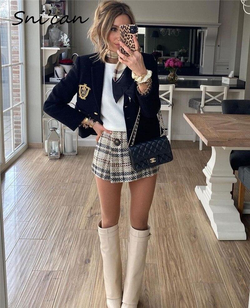 Женская короткая куртка Snican в британском стиле с аппликацией в стиле преппи, Весенняя модная уличная одежда Za, 2021