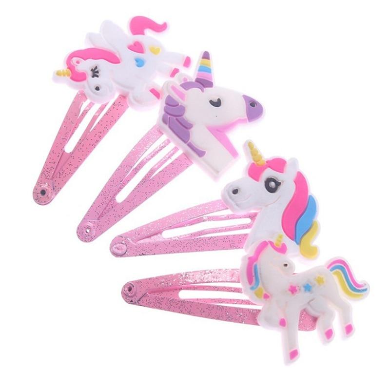 4Pcs Children Girls Cartoon Animal Hair Clips Glitter Unicorn Hairclips Plastic Hairpins Kids Headwear Party Hair Accessories недорого